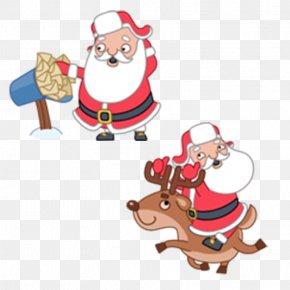 Christmas Cartoon Santa Claus - Rudolph Santa Claus Reindeer Christmas Icon PNG