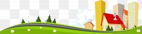 Cartoon Fresh Spring Grass Highway House - Cartoon Software Clip Art PNG