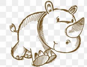 Hand Drawn Rhino - Rhinoceros Drawing Cartoon Animal PNG