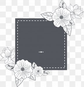 Wedding Invitation Style Hand Painted Flower Text Border - Wedding Invitation Paper Marriage Save The Date PNG