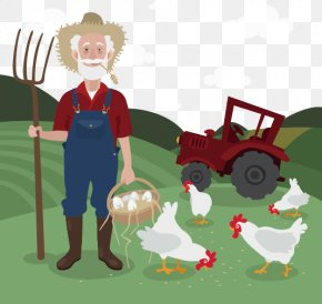 Vector Painted Old Farm - Chicken Farmer Clip Art PNG