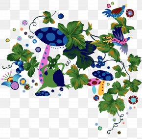Mouse And Mushroom Illustration Material - Download Illustration PNG