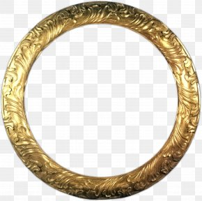 Gold - Picture Frames Circle Molding Gold Mirror PNG