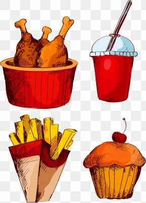 Vector Food French Fries Fried Chicken Cola Cake - Fried Chicken Fast Food French Fries Cola PNG