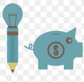 Creative Pencil Piggy Bank - Saving Button Money Download Icon PNG