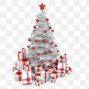 White Christmas Gift Box - Christmas Tree Gift Clip Art PNG