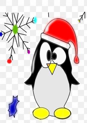 Linux - Penguin Christmas Santa Claus Candy Cane Clip Art PNG