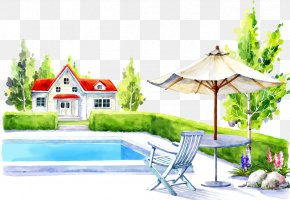 Family Pool And Chairs - Swimming Pool Table Cartoon Illustration PNG