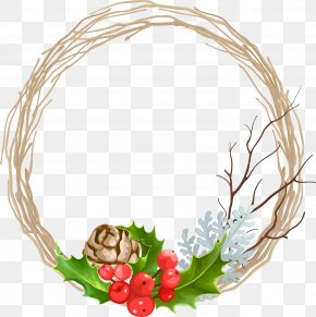 Christmas Decoration Wreath Vector - Wreath Christmas Garland PNG
