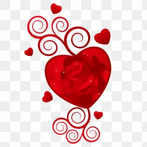 Red Rose Heart Vector - Happy Valentines Day February 14 Wish PNG
