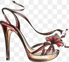 Cartoon Hand-painted Sketch High-heeled Sandals - Sandal Shoe Fashion High-heeled Footwear PNG