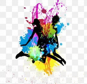 Jumping Silhouette Figures - Color Splash Silhouette PNG