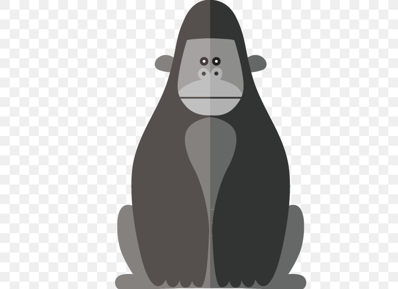 FIG Gorilla Body Material, PNG, 595x595px, Western Gorilla, Ape, Bear, Black, Black And White Download Free