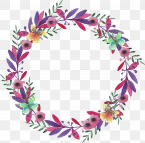 Vector Painted Garlands - Flower Watercolor Painting Wreath PNG