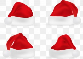 Four Red Christmas Hat - Christmas Hat Bonnet Red PNG