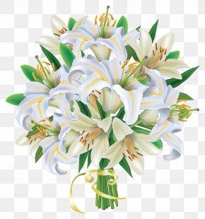 White Lilies Flowers Bouquet Clipart Image - Flower Bouquet Wedding Clip Art PNG