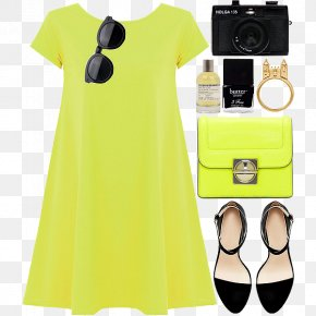 Simple Leisure Women With - Sleeve Yellow Dress PNG
