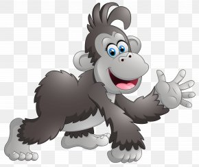 Happy Monkey Cartoon Clipart Image - Cartoon Monkey Baboons Drawing Clip Art PNG