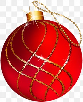 Transparent Christmas Large Red And Gold Ornament Clipart - Christmas Ornament Christmas Decoration Gold Christmas Tree PNG