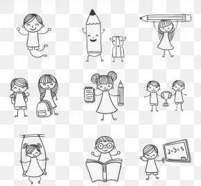 Color & Draw Child Drawing Play9 Hand-painted School Children Playing Vector Material - Kids Doodle PNG