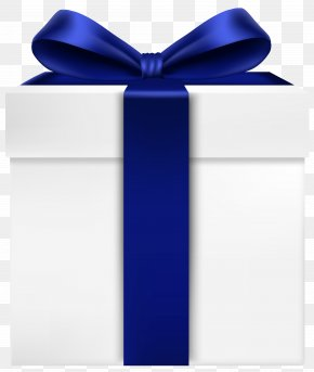 White Gift Box With Blue Bow Transparent Clip Art Image - Gift Box Blue Ribbon PNG