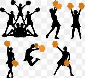 Vector Silhouette Cheerleader - Cheerleading Pom-pom Silhouette PNG