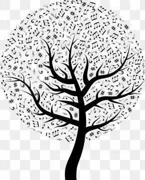 Tree Of Life Drawing Vector - Musical Note Clef Image PNG