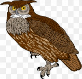 Horned Owl Cliparts - Great Horned Owl Bird Of Prey Clip Art PNG