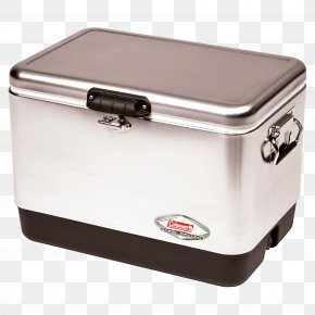 Cool Box - Coleman Company Coleman 54 Quart Steel Belted Cooler Stainless Steel Metal PNG