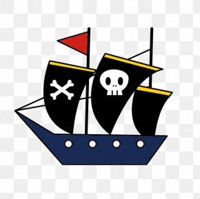 Cartoon Blue Pirate Ship - Piracy Clip Art PNG