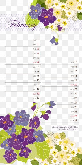 February Calendar Background Pattern Template - Floral Design Text Flower Pattern PNG