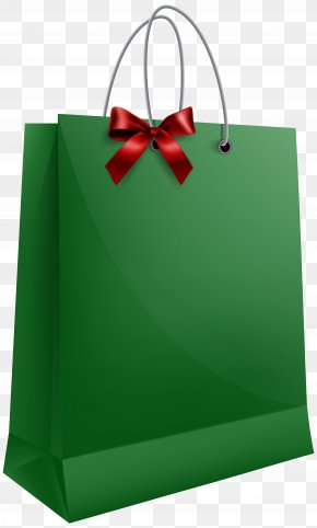 Green Gift Bag With Bow Clip Art Image - Gift Santa Claus Bag Clip Art PNG