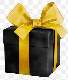 Material Property Gift Wrapping - Yellow Ribbon Present Gift Wrapping Material Property PNG