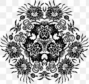 Flower Ornaments - Black And White Visual Arts PNG