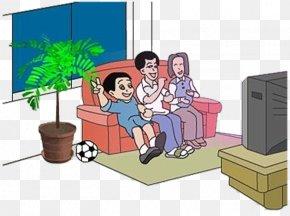 Cartoon Family Watching TV - Television Cartoon Clip Art PNG