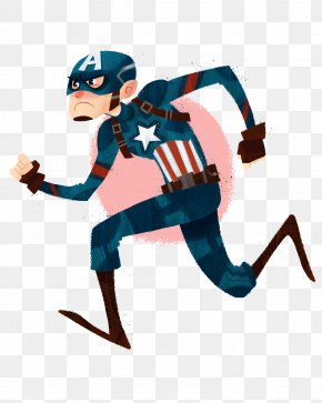 Captain America Running - Brazil United States Captain America Cartoon Illustration PNG