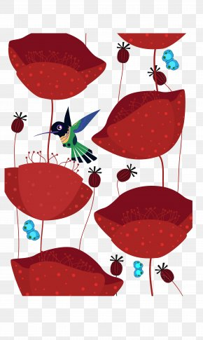 Birds, Red, Wild Animals - Red Flower Illustration PNG