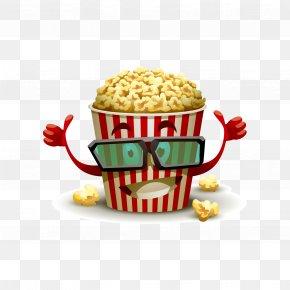 Vector Popcorn With Popcorn - Popcorn Cinema 3D Film Cartoon PNG