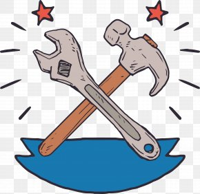 Hand-painted Wrench And Hammer - Wrench Hammer Tool PNG