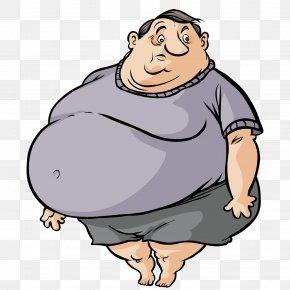 Cute Fat Man - Fat Cartoon Man PNG