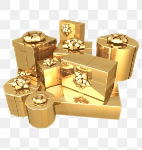 Gold Box - Gift Gold Paper Birthday Box PNG