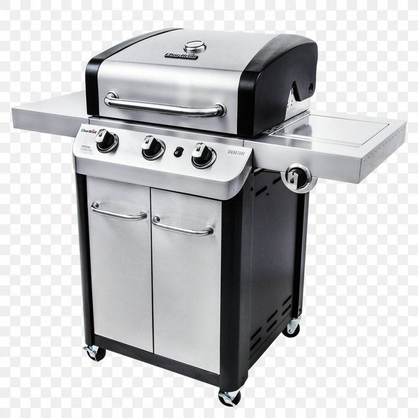 Barbecue Propane Char-Broil Signature 3 Burner Gas Grill Gas Burner Natural Gas, PNG, 1000x1000px, Barbecue, Charbroil, Charbroiler, Cooking, Food Download Free