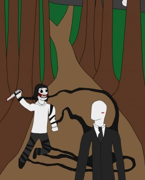 Slender Man - Vertebrate Fiction Cartoon Human Behavior PNG