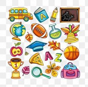 Hand-painted Cartoon School Supplies - School Supplies Cartoon Clip Art PNG