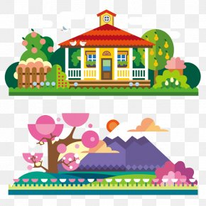 Cartoon Cottages With Cherry Trees Beautiful Landscape - Spring Apartment Landscape Illustration PNG