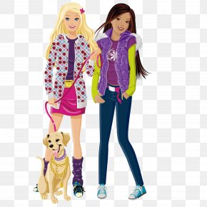 Cute Girlfriends - Barbie Doll Free Content Clip Art PNG