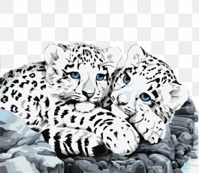 Two Cute Little Snow Leopards - The Snow Leopard Paint By Number PNG
