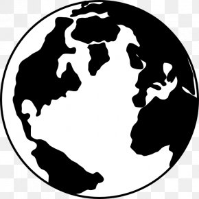 Black And White Earth - Globe World Black And White Clip Art PNG