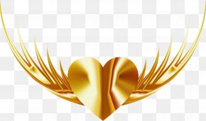 Heart Wing - Yellow Wing Heart PNG