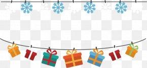 Vector Snowflake Christmas Gift Box Banners - Christmas Gift Banner Clip Art PNG